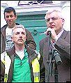 Joe addresses the Gama workers