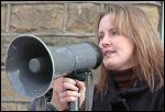 Dr Jackie Grunsell addresses the Huddersfield demo