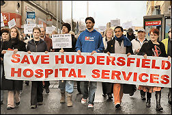 Campaigning against cuts and closures in Huddersfield