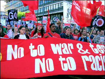 Part of the ISR contingent on the STWC march. Photos Hannah seaman
