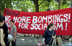 International Socialist Resistance banner on demonstration