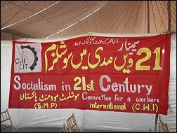 CWI banner and stall at World Social Forum