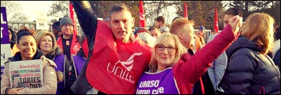 Birmingham Bin workers and home carers strike on same day, photo Birmingham Socialist Party