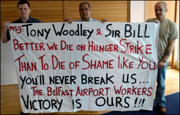 Belfast airport workers protest, photo The Socialist