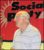 Peter Taaffe speaking at the Socialist Party fringe meeting at Unison conference 2008, photo Gary Freeman