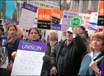 PCS is calling for public-sector trade union unity. Birmingham Council workers on strike, April 24, photo S. O Neill