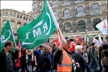 RMT banners on the Love Music Hate Racism demonstration 2008, photo Paul Mattsson