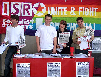 Socialist Party members campaigning at Pride, photo Chris Newby