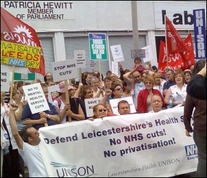 A previous NHS protest in Leicester, photo by Leicester Socialist Party