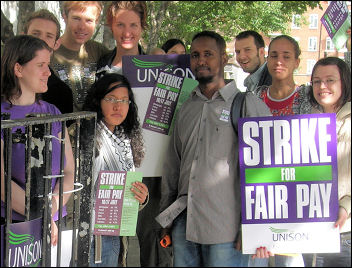 Unison Local Government strike on 16-17 July in Camden, photo by Hugo Pierre
