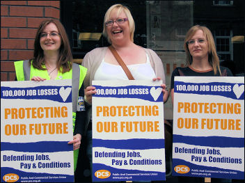 Trade union action can protect our future. PCS workers on struike in Belfast. Photo Peter Hadden