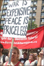 Anti-war protest during the USA Republican Party convention organised by Youth Against War and Racism, a Socialist Alternative initiative, photo USA Youth Against Racism