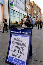 Notice overlooked by Lloyds bank, which has just swallowed up Halifax Bank of Scotland, photo Paul Mattsson