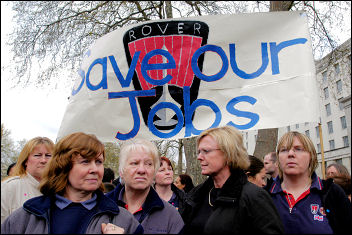 Rover workers demonstrate against closure in 2005, photo Paul Mattsson. But why was the plant not nationalised?