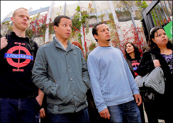 Jean Charles de Menezes relatives and friends outside the inquiry into his shooting, photo Paul Mattsson