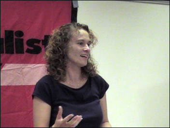 Hannah Sell speaking at London Socialist Party public meeting, Was Marx right, photo Pete Mason