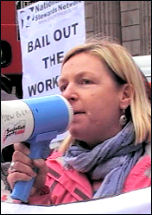 Lois Austin speaking at a National Shop Stewards Network protest outside the bank of England during the credit crunch, photo Pete Mason