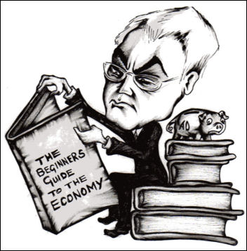 Alistair Darling reads the beginners guide to the economy, photo Suz