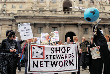 National Shop Stewards Network protest outside Bank of England, photo Paul Mattsson