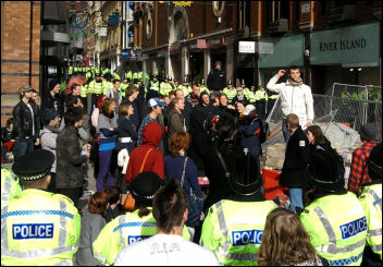 Anti-fascists coralled by police, photo Leeds Socialist Party
