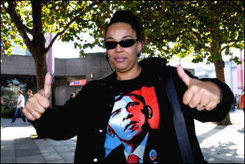 US president Barack Obama supporter during election campaign, photo Paul Mattsson