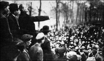 German revolutionary socialist Karl Liebknecht addresses a mass workers' demonstration