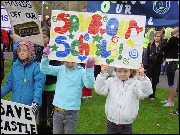 Part of the Mirfield protest in Kirklees against a school closure forced a u-turn, photo J Grunsell