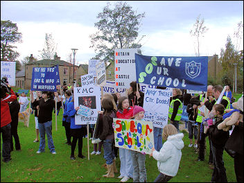 demonstration through Mirfield against school closure is successful, photo J Grunsell