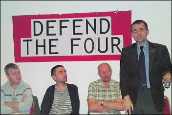 Hackeny Defend the Four meeting addressed by John Leach, President RMT, photo Hackney Socialist Party