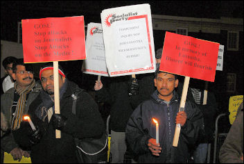 Protest outside the Sri Lankan embassy in London, photo by Paul Mattsson