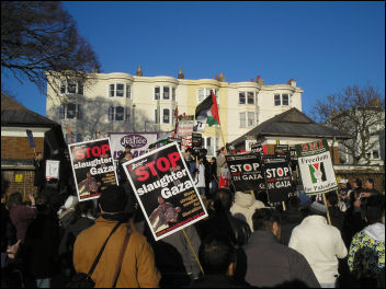 Brighton demonstration against war on Gaza, photo by Brighton Socialist Party