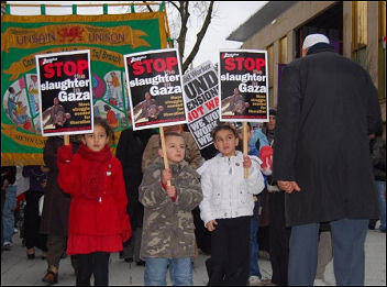 Cardiff demonstrates against Gaza invasion, photo Cardiff Socialist Party