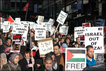 Nottingham demonstration against the war on Gaza, photo by Nottingham Socialist Party