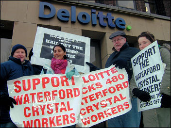 Waterford Crystal workers occupy and protest at sackings, photo Socialist Party Ireland