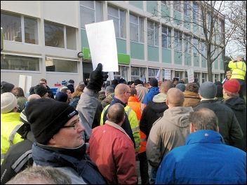Staythorpe power station construction workers protest outside Newark Jobcentre, photo Steve Score
