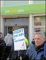 Staythorpe power station construction workers protest outside Newark Jobcentre, photo Steve Score