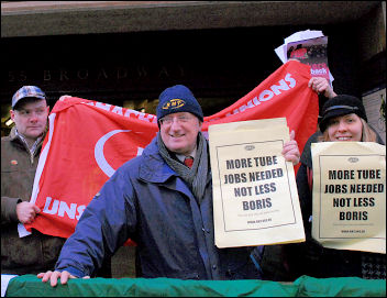 RMT protest against job losses is joined by the Shop Stewards Network, photo by Paul Mattsson