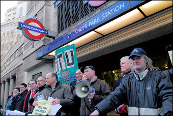 RMT protest against job losses is joined by the Shop Stewards Network, photo Paul Mattsson