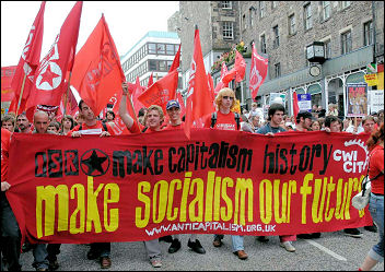 The Socialist Party and ISR protesting at the G8 summit 2005, photo Paul Mattsson