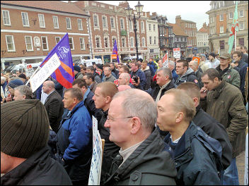 After a mass picket at Staythorpe power station contruction workers marched into Newark town centre, photo Steve Score