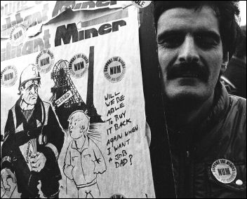 Miner lobbying the TUC during the Miners strike of 1984-85, photo Dave Sinclair