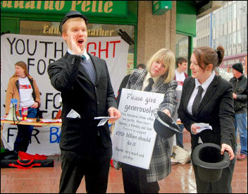 Three Youth Fight for Jobs bankers ask