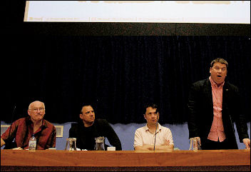 Alex Gordon (speaking) and Brian Denny (second from left) from the RMT addressed the Socialist Party congress in an official capacity, photo Paul Mattsson