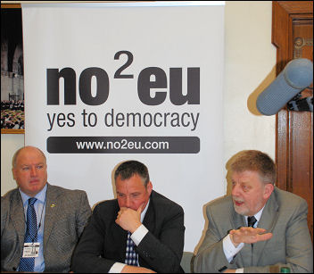 NO2EU Press conference as RMT launches Euro challenge in 2009, photo Suzanne Beishon