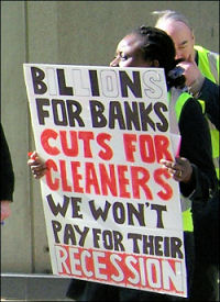 Cleaners employed by contractors Mitie protested outside the Willis building in the City of London, photo Chris Newby
