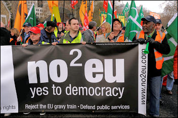NO2EU on the 'Put People First' demo, photo Paul Mattsson