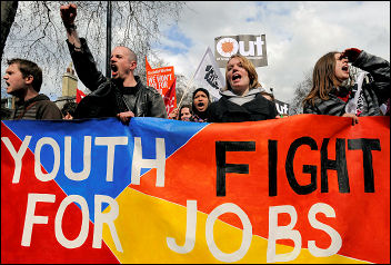 Youth Fight for Jobs and NO2EU on the 'Put People First' demo, photo Paul Mattsson