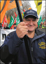Bob Crow, RMT general secretary and NO2EU on the on the 'Put People First' demo, photo Paul Mattsson