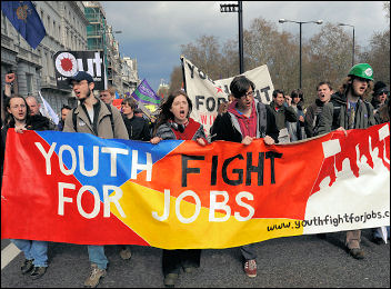 Youth Fight for Jobs on the 'Put People First' demo during the G20 last year, photo Paul Mattsson