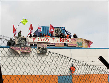Workers occupy at Visteon Enfield, photo Paul Mattsson